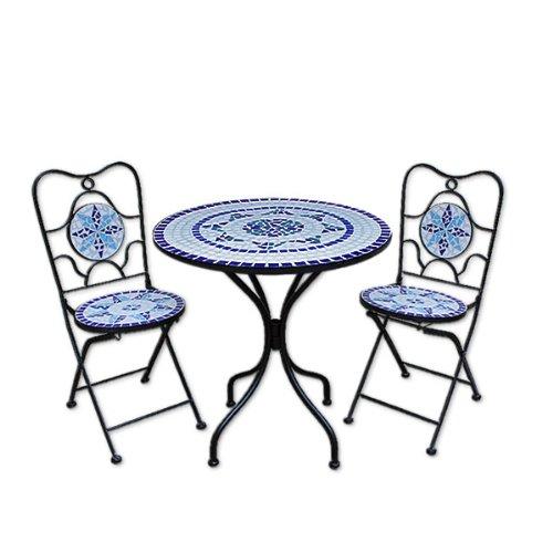 Deuba Mosaiksitzgarnitur Neptun 2X Stuhl + 1 Tisch Sitzgruppe Mosaiktisch Mosaikstuhl Gartentisch
