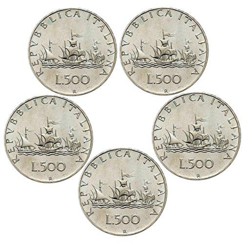 Italia 500 lire Argento'Caravelle' (11 gr. - 29 mm.) varie annate CINQUE MONETE da collezione Silver Coin