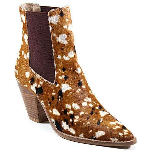 Diba True Women's Sound Off Pointed Toe Ponyhair Chelsea Boot Caramel Cow 11 US