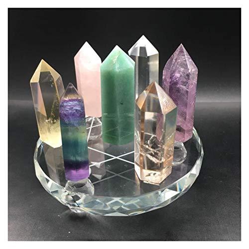 7 Estrellas Curing Wand Puntos de Cuarzo Cristales de Cuarzo Piedras Varita Puntos Hogar Decoración Fengshui Artesanía para Regalos Collares (Size : Large Stand)