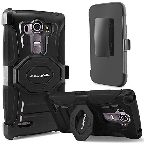 LG G Stylo Case, Cellularvilla LG G Stylus Case [Heavy Duty] [Hard Soft] Hybrid Armor Rugged Case with Holster Shell [Belt Clip] Swivel Kickstand Cover For LG G Stylo LS770 (Black)