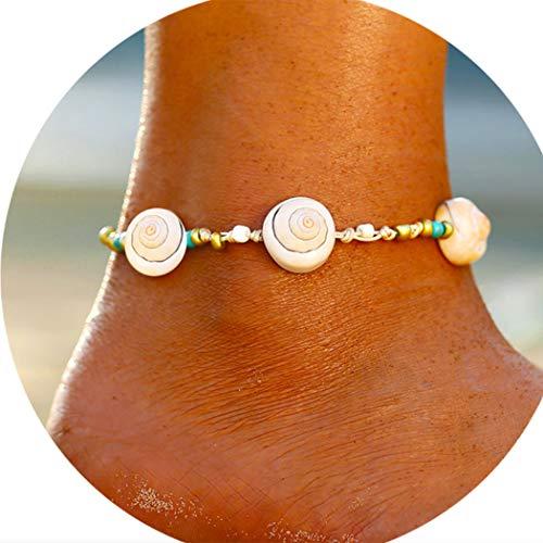 Yienate Tobilleras de playa con colgante de caracol para el día de la madre, joyería para el pie para mujeres y niñas