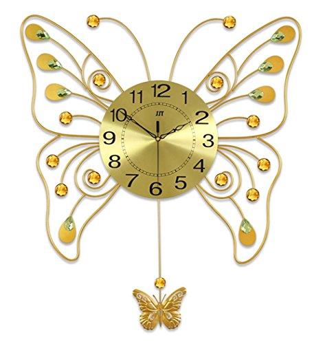 YYH Ampio soggiorno a dondolo farfalla arte orologio moda creativo moderno orologio da parete