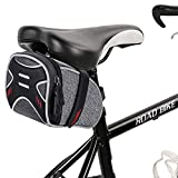 WATERFLY Strap On Bike Saddle Bag Bicycle Seat Bag Cycling Wedge Storage Bag Reflective Stripe