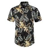 Camisa Hawaiana Hombre,Camisa Hawaiana Informal Con Botones, Manga Corta, Hoja De Plátano Tropical, Impresa, De Secado Rápido, Transpirable, Estilo Vintage, Aloha, Para Hombre, Mujer, Vacaciones E