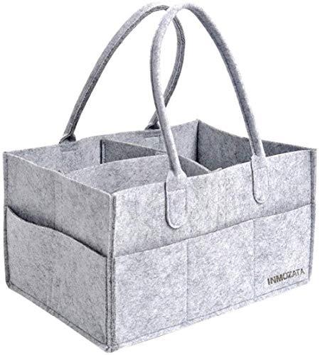 INMOZATA Baby Windel Caddy 3 Fächer Faltbare Wickeltasche aus Filz Windel Organizer Korb Multifunktionale Aufbewahrungsbox Grau