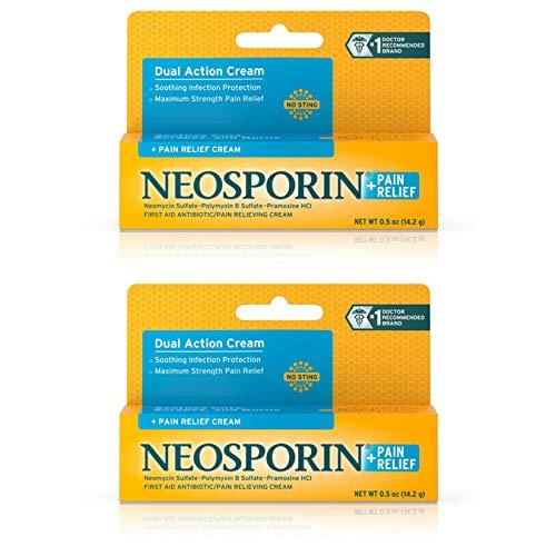 Neosporin + Maximum-Strength Pain Relief Dual Action Antibiotic Cream, 0.5 Ounce, Pack of 2