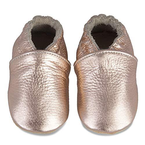 IceUnicorn Baby Lauflernschuhe Jungen Mädchen Weicher Leder Krabbelschuhe Kleinkind Babyhausschuhe Rutschfesten Wildledersohlen(Rose/Gold, 6-12 Monate)