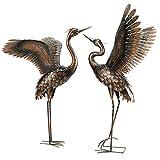 chisheen Garden Statue Outdoor Metal Heron Crane Yard Art Sculpture for Lawn Patio Backyar...