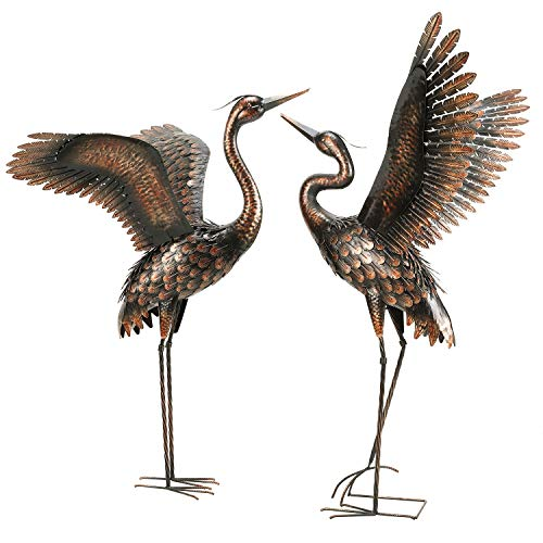 Chisheen Garden Statue Outdoor Metal Heron Crane Yard Art Sculpture for Lawn Patio Backyard Decoration,46 inch (2-Pack)