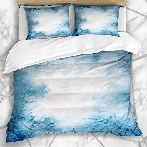 HARXISE Bettwäsche - Bettwäscheset Flüssiges künstlerisches Aquarell-blaues Salz-Marmorspritzen-Zusammenfassungs-helles Bürsten-kalte Farbkreatives Design Mikrofaser weich dreiteilig160*220