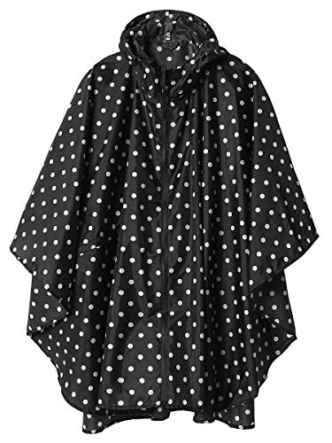 Women Rain Poncho Hooded Outdoor Rain Coat with Pockets Black Point