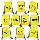 Rucksack Mitgebsel Kindergeburtstag Smiley Turnbeutel Gastgeschenke Beutel Geschenktaschen für Jungen Mädchen Kinder 10 Stück