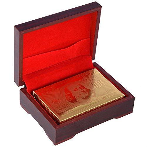 24K Vergoldete Spielkarten Goldfolie Pokerkarten Kartenspiel Poked Deck,24K Goldfolie Poker Luxus Spielkarten Karten Imprägniern Gefälschte Goldfolien-Spielkarten Plastikschürhaken Spiel Karten mit Bo