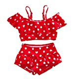 Baby Girl Cute Swimsuits Red 2 Pieces White Dot Skirt Swimwear Sets (Small, Red)