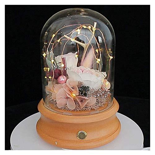 XIAOGING Flor eterna preservada hechos a mano de la flor del vidrio Conservado Rose cubierta del LED luz en cristal de la bóveda base de madera regalos románticos del Usb Por siempre altavoz Bluetooth