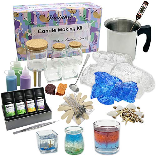Candle Making Kit – Wax and Accessory DIY Set for The Making of Colored Candles - Easy to Make Scented Candle Gel Wax Kit