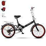 Vitesse Variable Confort Vélo Pliant,Amortissement Vélo Pliable pour Les Hommes Et Les Femmes,avec Bell Siège Réglable Vélo Adapté à 135-hauteur De 175 Cm-Noir Un