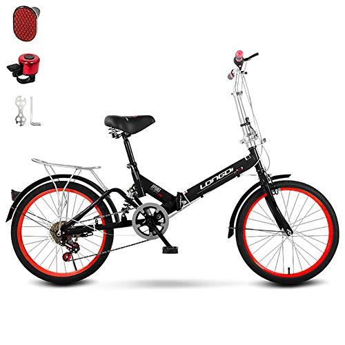 Mit Bell Verstellbarer Sitz Fahrrad Passend Für 135-175 cm Höhe,Variable Geschwindigkeit Komfort Faltrad,Dämpfung Faltbares Fahrrad Für Männer Und Frauen-Schwarz Eine
