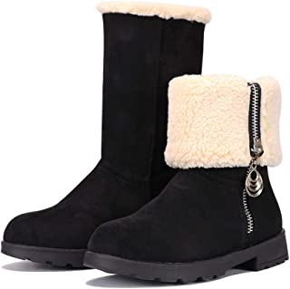 MUYGUAY Girls Winter Snow Boots Suede Fold Mid-Calf Fur Lined Warm Zipper Boots for Toddler/Little Kid/Big Kid