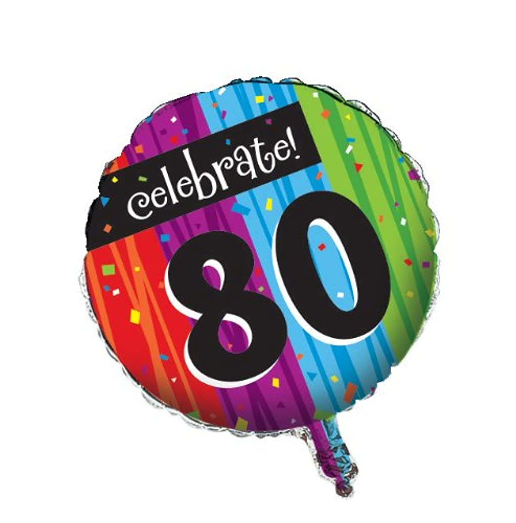 Creative Converting Party Decoration Round Metallic Balloon, Milestone Celebrations 80th