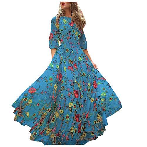 manadlian Damen Bedrucktes Rockkleid Langarm Abend Party Prom Swing Dress Übergroßer Rock