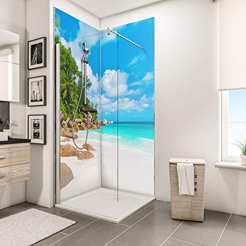Schulte Duschrückwand Set über Eck, Bucht Seychellen, 2 x 90x210 cm, Wandverkleidung aus 3 mm Aluminium-Verbundplatte als fugenloser Fliesenersatz