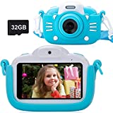 MINIBEAR Kids Digital Camera 41MP Children Toddler Camera for Girls Boys Toys Gifts 3 Inch Touch Screen Kids Video Camera Recorder Child Camcorder with 32G TF Card - Blue