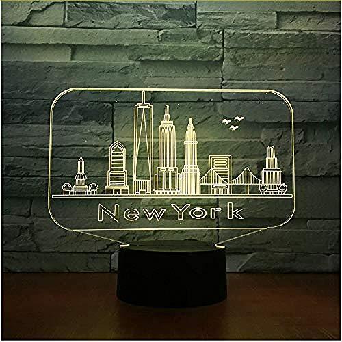 New York gebouwde 3D nachtlampje kleurrijke LED atmosferische slaapkamer tafellamp schattig 7 kleuren 3DUSB LED nachtlampje