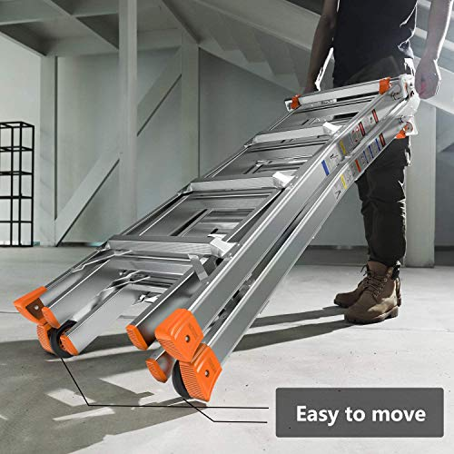 TACKLIFE Ladders 13ft 17ft, 5 Modes Extension Ladder Upgraded Aluminum, ANSI standard, 300 lb Duty Rating (Load Capacity Type IA), Stronger