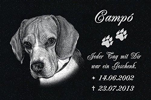 """GRANIT Grabstein - Grabplatte - Grabschmuck mit der Lasergravur des Motives """"Hund-ag31"""" (mit dem Musterbild oder Ihrem eigenen Foto - siehe Auswahl) und Ihrem Foto/Text und Daten von LaserArt24"""