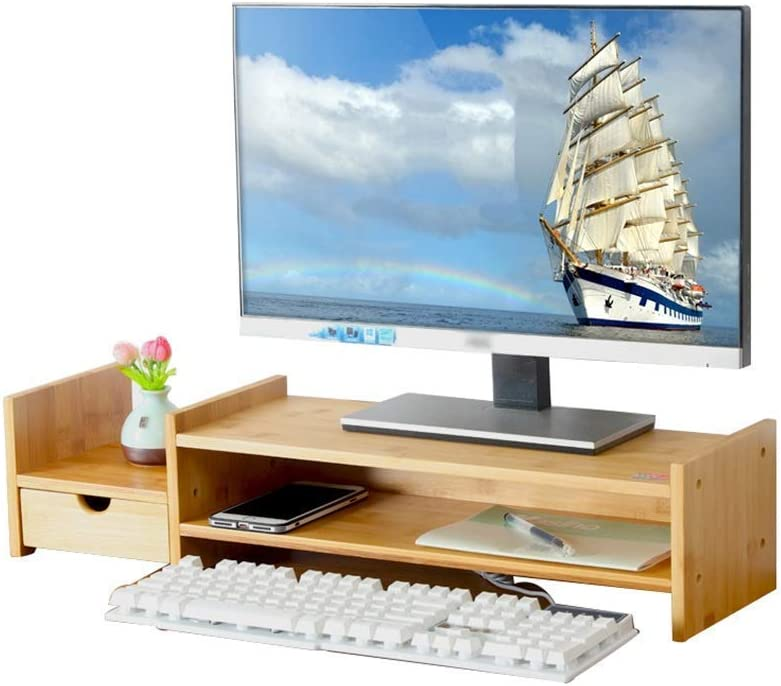 LIMEI-ZEN File Cabinet Universal Laptop Notebook Monitor Stand Rack ,Computer Monitor Base Phone Holder Phone Holder Office Desktop Storage Rack Wooden with Drawer 70 19 13cm