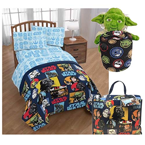 Disney Star Wars Twin Bedding Set with Yoda Pillow Buddy and Throw Blanket