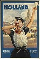 オランダ旅行鉄道、ブリキの看板、ヴィンテージ鉄の絵画金属板ノベルティ装飾クラブカフェバー
