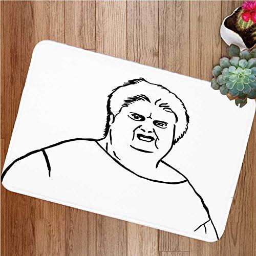 YnimioHOB Humor Decoración Alfombrilla de la Puerta Delantera, Chubby Guy Meme Grasa Enojado Expresión Facial Pantalla Pantalla de Caracteres de Internet Felpudo para Interior o Exterior
