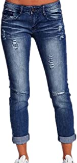Jeans per Donna Moda Vita Media Pantaloni in Denim Vintage Boyfriend Stretch Pantaloni Casuale Leggings Denim Pantaloni