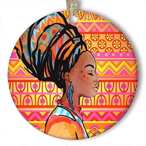 Adorno para pendientes de mujer africana (redondo) de cerámica personalizada, para día festivo o Navidad, ideas 2019