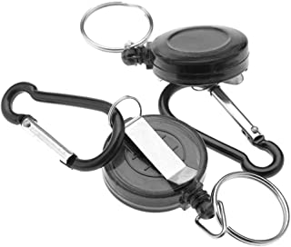 2 X Retractable Chain ID Holder Reel Recoil Key Ring Belt Clip Black AU Stock