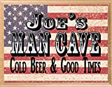 Custom Man Cave Sign Personalized Name - Wall Art Décor Gift for Him Men Father Husband or Grandpa