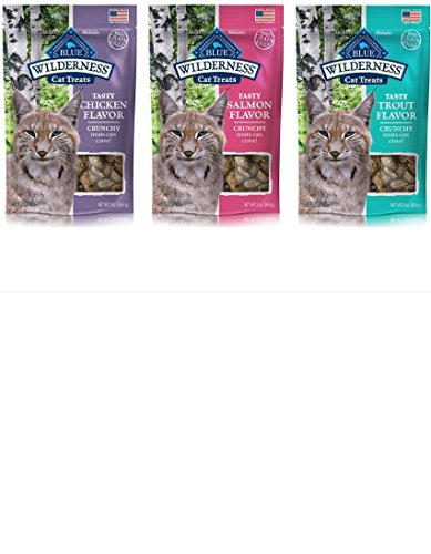 Blue Buffalo Wilderness Grain-Free Crunchy Cat Treat, 3 Flavor pack