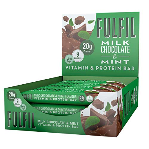 FULFIL Vitamin and Protein Bar (15 x 55g Bars) — Milk Chocolate & Mint Flavour — 20g High Protein, 9 Vitamins, Low Sugar