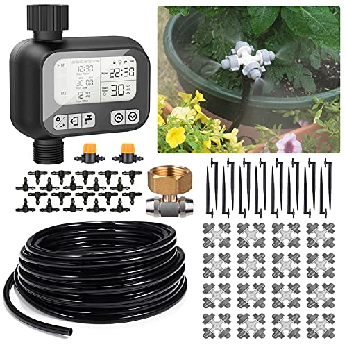 HIRALIY 65.6FT/20M Auto Plant Misting Watering System,8x5mm Blank Distribution Tubing and 4-outlets Misting Nozzles,Automatic Drip Irrigation Kits for Patio Lawn Garden Greenhouse Flower Bed