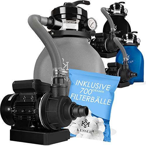 KESSER® Sandfilter Sandfilteranlage + 700g Filterbälle ersetzen 25kg Filtersand- Poolfilter 10 m³/h Filteranlage Filterkessel für Pool Schwimmbecken 4-Wege Ventil, einfache Steuerung, Grau