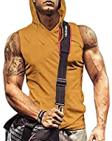 Fitness Tank for Men Sleeveless Bodybuilding Hooded Shirts Yellow L