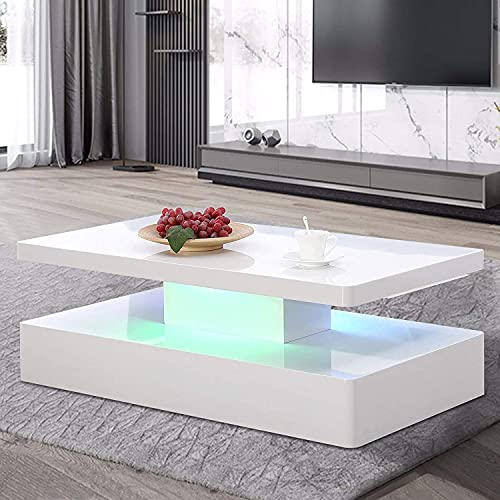 IKIFLY Modern Glossy White Coffee Table W/LED Lighting, Contemporary Rectangle Design Living Room Furniture, 2 Tiers