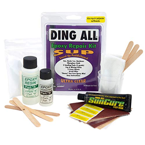 Ding All Super Stand Up Paddle Board (SUP) Epoxy Repair Kit with a Superior, Eco-Friendly and Non Yellowing Formula for Small to Medium Ding Repairs