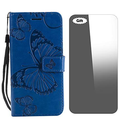 Galaxy J5 Prime / On5 2016 Hülle, Conber Lederhülle Handyhülle mit [Frei Schutzfolie], PU Tasche Leder Flip Case Cover 3D Schmetterling Schutzhülle für Samsung Galaxy J5 Prime / On5 2016 - Blau