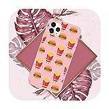 Carino cartone animato hamburger patatine fritte pizza caso rosa Candy colore per iPhone 11 12 mini pro XS MAX 8 7 6 6S Plus X SE 2020 XR-a4-iPhone12PROMAX