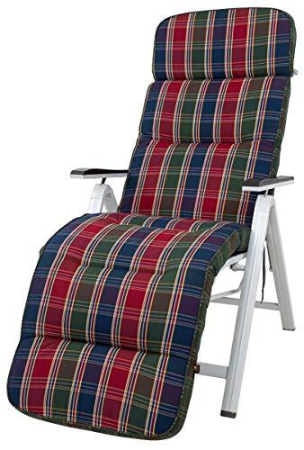 Kettler Polen KETTtex 8699 Auflage Relaxliegen Kreta rot-blau-grün gestreift/kariert Sitzpolster 175x50x8 cm (ohne Liege)