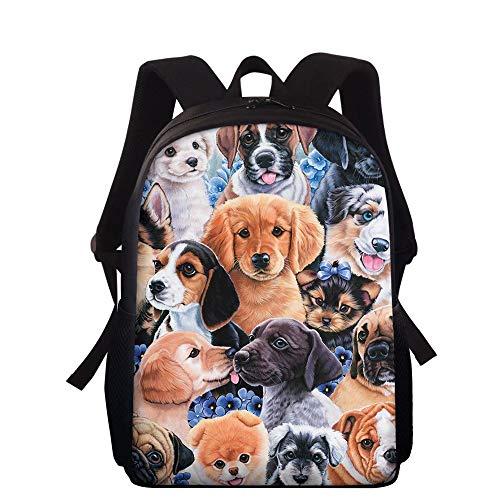 NDISTIN Pretty Love Animals Pet Dog Travel Backpack for Women Children School Bag Outdoor Casual Daypack Rucksack Bookbag Knapsack Empty Net Cloth Design Teenager Girls Lightweight Satchel Best Gift
